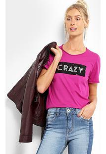 Camiseta Colcci Crazy Paetê Feminina - Feminino-Rosa