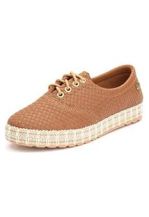 Tênis Sapatênis Casual Ousy Shoes Fácil Calce Caramelo