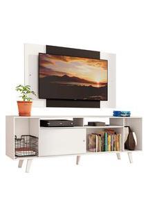 Rack Madesa Cancun E Painel Para Tv Até 58 Polegadas Com Pés - Branco/Preto 09C7 Branco