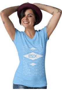Camiseta Gola V Ezok Urban Feminina - Feminino-Azul Claro