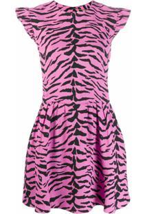 Saint Laurent Vestido Com Estampa De Zebra - Rosa