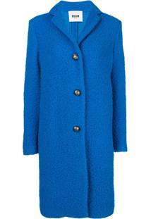 Msgm Textured Single Breast Coat - Azul