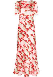 Bernadette Vestido Longo Jane Mangas Curtas - Rosa