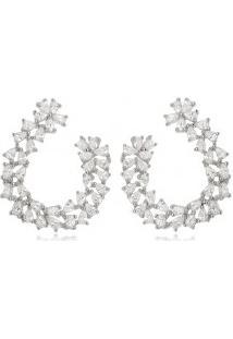 Brinco Prata Ear Cuff Flower Zircônia Branca