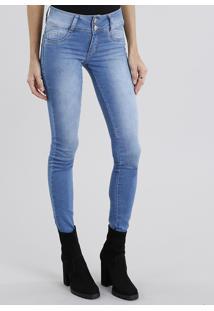 Calça Jeans Feminina Super Skinny Sawary Azul Claro