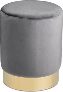 Puff Texturizado Com Base Metã¡Lica- Cinza & Dourado-Mart
