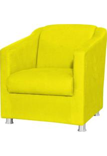 Poltrona Decorativa Laura L02 Suede Amarelo - Lyam Decor