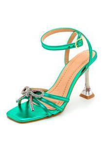 Sandália Feminina Salto Taça Transparente Bico Quadrado Em Verde Metalizado