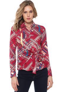 Camisa Enfim Estampada Amarração Rosa