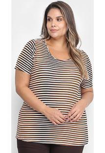Blusa Cativa Listrada Plus Size Feminina - Feminino-Branco