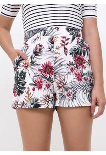 Short Floral Tropical Com Bolsos
