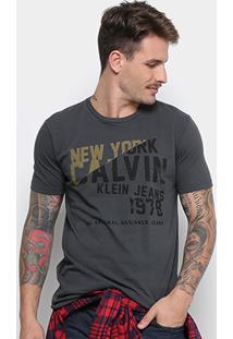 Camiseta Calvin Klein Manga Curta Masculina - Masculino-Chumbo