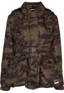 Miu Miu Belted Camouflage-Print Jacket - Estampado