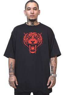 Camiseta Manga Curta Skull Clothing Tigre Preto