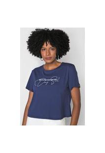 Camiseta Dimy Lettering Azul-Marinho