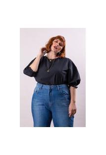 Blusa Tricoline Almaria Plus Size Lady More Manga Bufante Preto