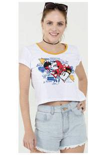 Blusa Feminina Cropped Estampa Mickey E Minnie Manga Curta Disney