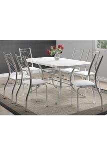 Mesa 1507 Branca Cromada Com 6 Cadeiras 1710 Branca Carraro