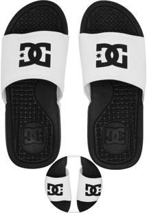 Chinelo Slide Dc Shoes Logo Branco/Preto