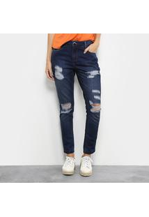 Calça Jeans Skinny Morena Rosa Bordado Cintura Média Feminina - Feminino-Jeans