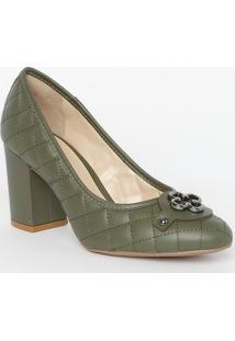 Sapato Tradicional Em Couro Matelassê- Verde Escuro-Capodarte