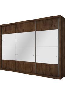Guarda Roupa Hórizon 3 Portas Com Espelhos Canela