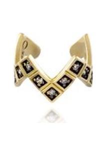 Earcuff Cosmopolitan Diamante Ouro Amarelo Com Diamantes - U