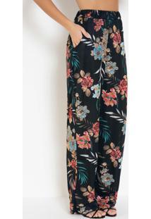 Calça Pantalona Floral Preta Com Bolsos