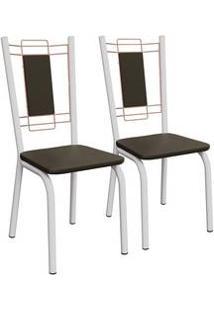 Kit 2 Cadeiras Florença Branco Fosco E Marrom 2C078Bfr-21 Kappesberg