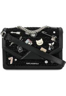 Karl Lagerfeld Bolsa Tiracolo K/Klassik Com Pins - Preto