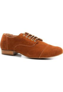 Oxford Shoestock Flat Nobuck Feminino - Feminino-Caramelo