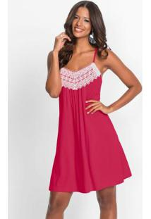 Vestido Rosa Trapézio Com Renda Guipir