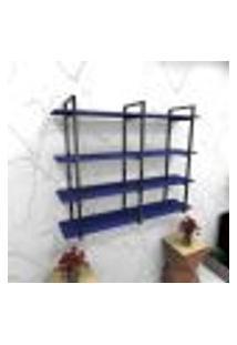 Estante Estilo Industrial Sala Aço Cor Preto 120X30X98Cm (C)X(L)X(A) Cor Mdf Azul Modelo Ind43Azsl