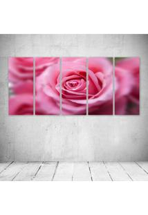 Quadro Decorativo - Pink Rose - Composto De 5 Quadros