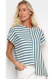 Blusa Osklen Summer Stripe Feminina - Feminino-Azul