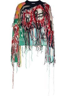 Charles Jeffrey Loverboy Suéter Cropped Com Franjas - Azul