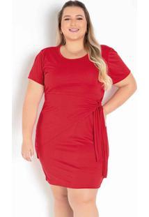 Vestido Vermelho Com Sobreposição Plus Size