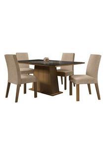 Conjunto Sala De Jantar Madesa Sabrina Mesa Tampo De Vidro Com 4 Cadeiras Rustic/Preto/Imperial Cor:Rustic/Preto/Imperial