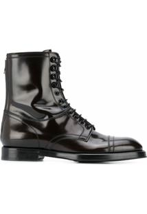 Dolce & Gabbana Ankle Boot De Couro Com Cadarço - Marrom