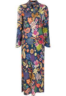 Rixo '70S Print Tie Neck Dress - Azul