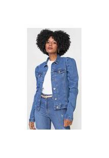Jaqueta Jeans Dimy Mangas Bufantes Azul