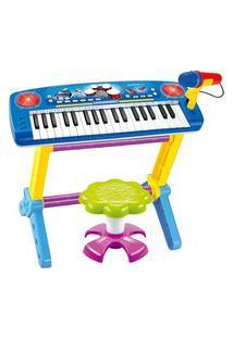 Piano Infantil Musical Importway Com Banquinho E Microfone Azul