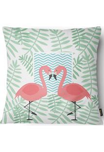 Capa Para Almofada Em Sarja Colors Flamingos 43X43Cm Branca E Verde