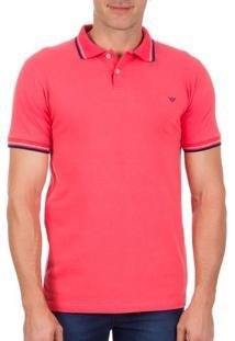Camisa Polo Masculina Rosa Com Detalhe - Xg