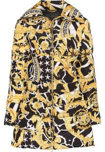 Versace Baroque Print Puffer Coat - A7900 Oro