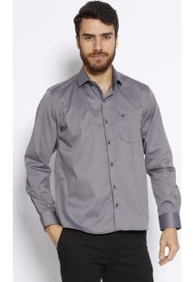 Camisa Comfort Com Bolso - Cinza & Azul Marinho- Docdocthos