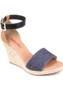 Sandália Anabela Camila Ferraz 36631 - Feminino-Jeans
