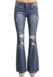 Calça Jeans Flare Destroyed Alphorria - Feminino-Azul