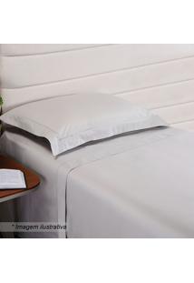 Fronha Hotel Com Bordado- Cinza Claro- 70X50Cm- Niazitex
