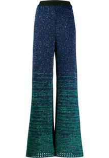 M Missoni Calça De Tricô Com Paetês - Azul